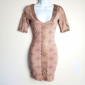 BEBE rose gold lace print bodycon dress